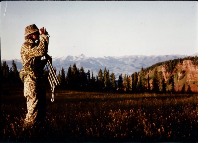 Pat Hayes glasses for elk on an archery hunt on Red Table Mountain in Western Colorado during the early 1980's. Photo by Michael Patrick McCarty