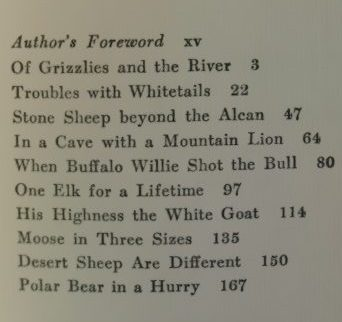 The Chapter Headings For North American Head Hunting by Grancel Fitz. With Stories on Grizzlies, Polar Bear, White-tailed Deer, Stone Sheep, Mountain Lion, Bison, Elk, Mountain Goat, Moose, Desert Bighorn, and More